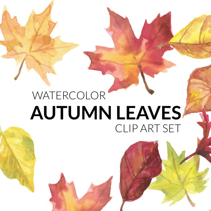 Autumn Leaves, Fall leaves, illustration, watercolor clipart of fall leaves, festive warm clipart