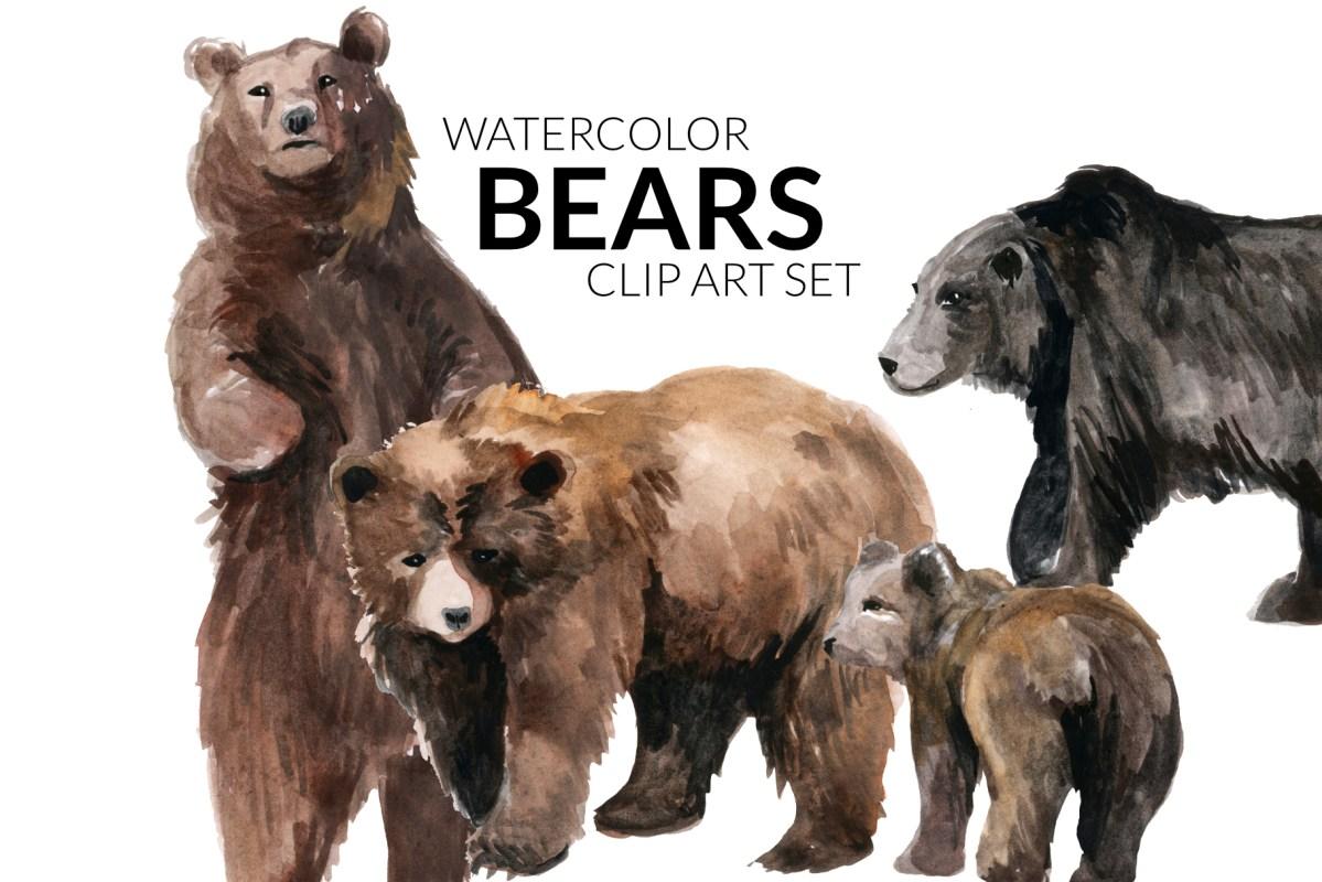 Watercolor Bears Artwork, clipart, illustration bear, Baby momma bear, mother baby bear watercolors