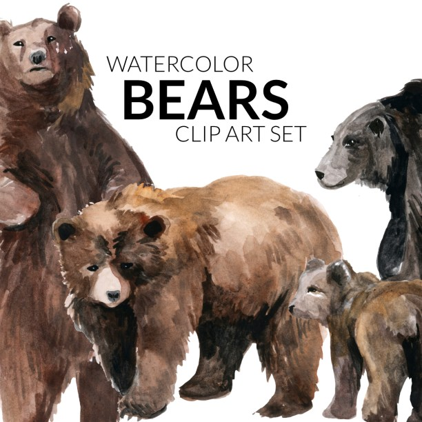 Watercolor Bears Artwork, clipart, illustration bear, Baby momma bear, mother baby bear watercolors