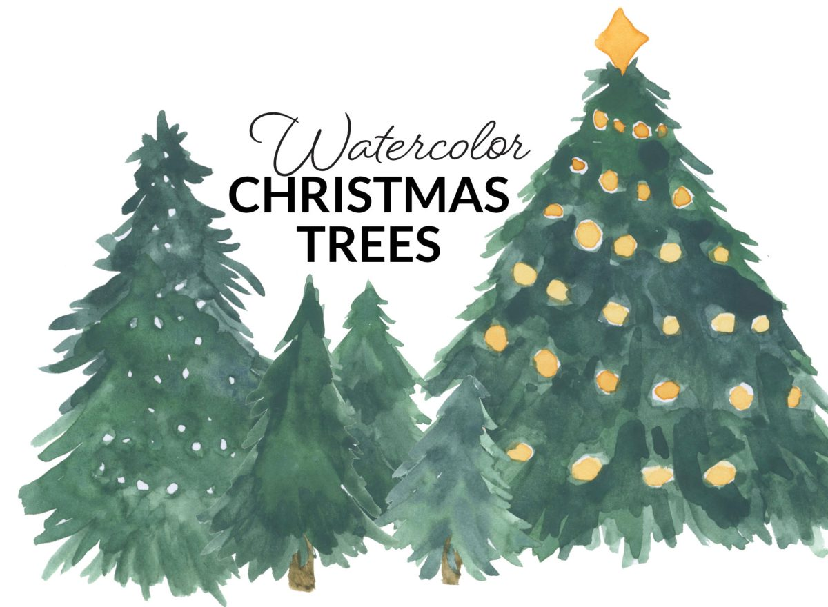 Watercolor Christmas Trees, holiday tree, gold balls watercolor