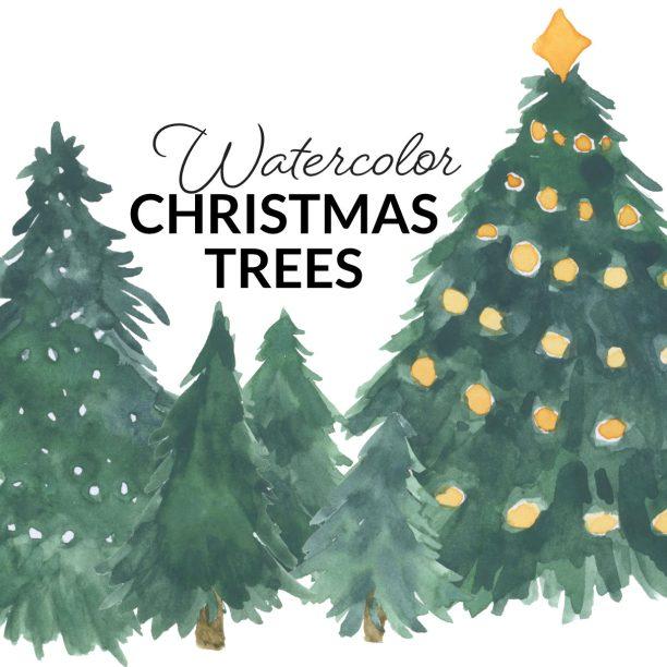 Watercolor Christmas Trees, holiday tree, gold balls watercolor