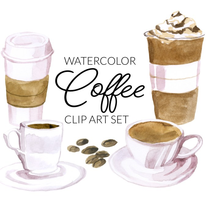 Watercolor coffee clipart, late clip art, mocha ice clipart, to go coffee art, PNG