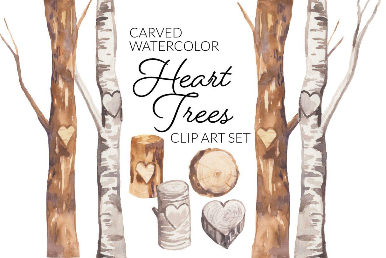 Watercolor Heart Trees Clipart Set, digital illustration wedding romantic valentine's day clip art