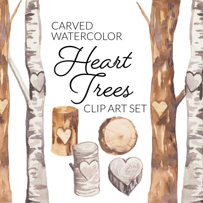 Watercolor Heart Trees Clipart Set, digital illustration wedding romantic valentine's day clip art