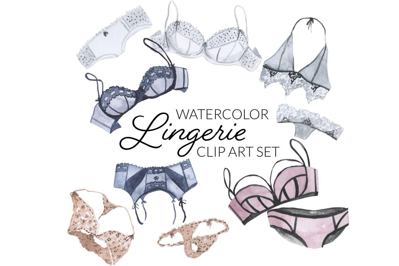 Watercolor Lingerie Clipart, digital artwork bachelorette party sexy bra panties bralette balconette thong transparent