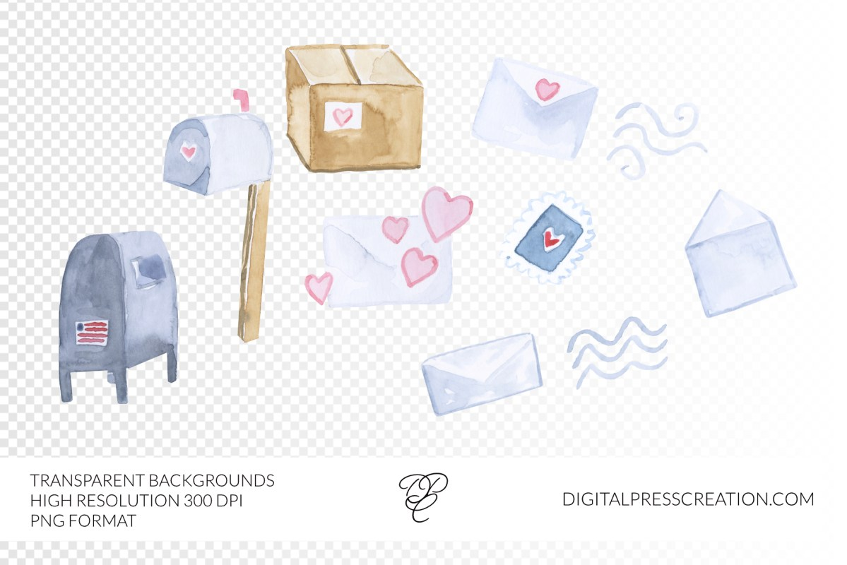 Watercolor postal service clipart, mail art, letters PNG postage stamps mailboxes artwork commercial use transparent backgrounds