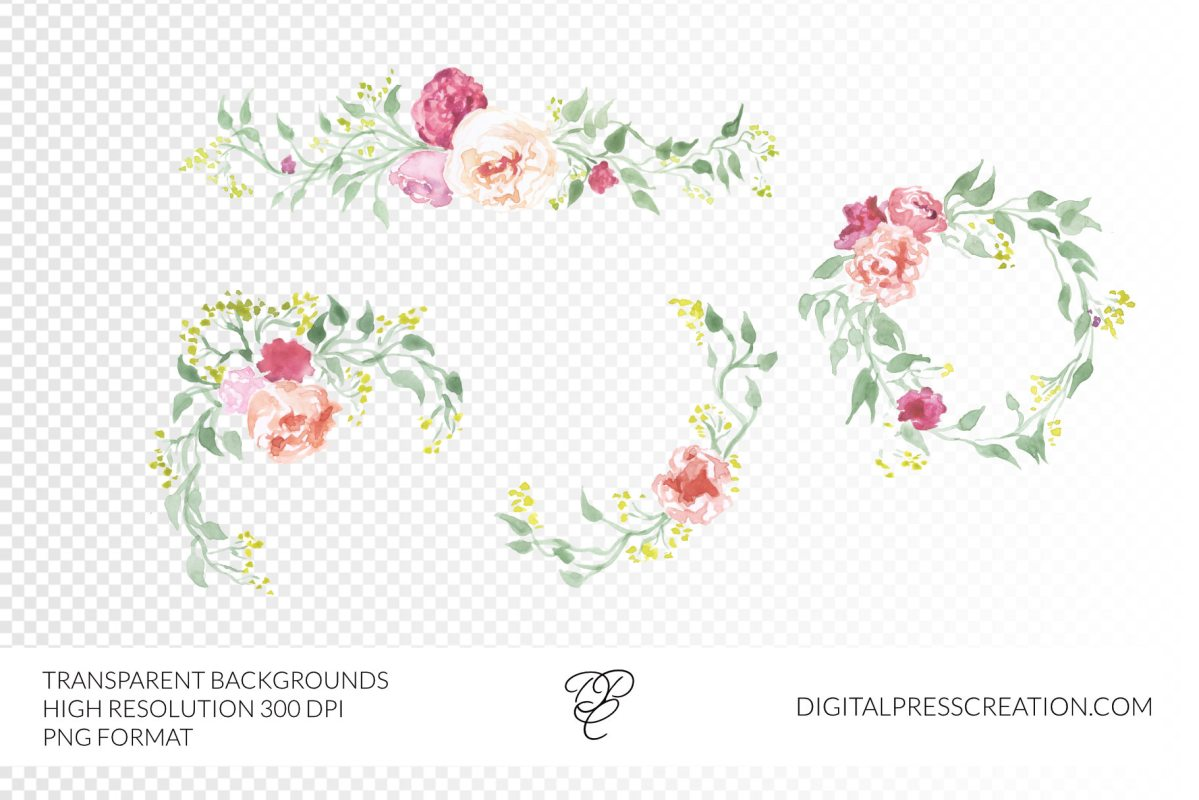 Transparent background watercolor floral borders digital clipart set florals borders
