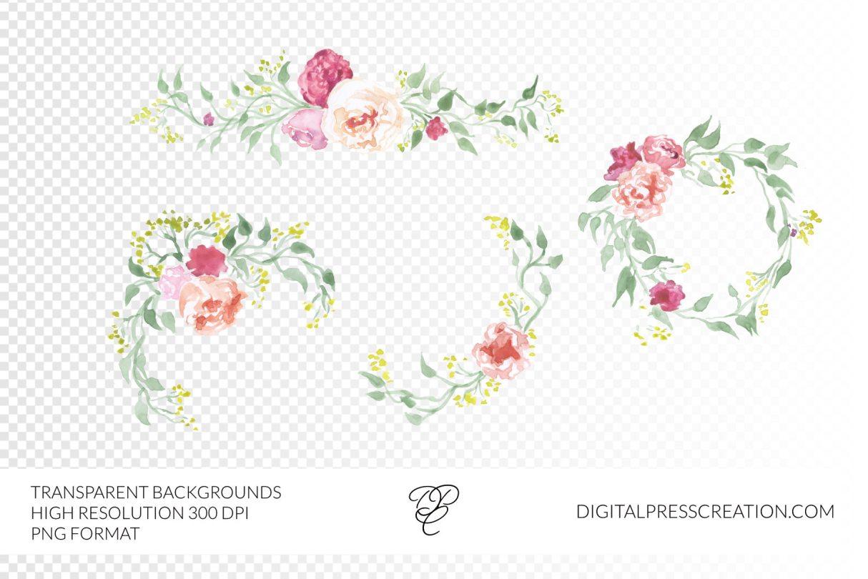 Transparent background watercolor floral borders digital clipart set florals borders