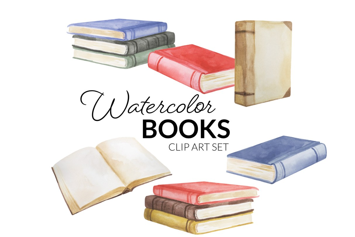 Watercolor Books Clipart Transparent background Old World