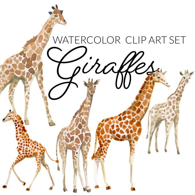 Watercolor giraffe clipart exotic animal clip art, baby animal clipart cute animals transparent PNG