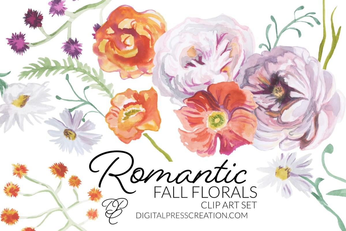 Romantic fall florals digital artwork clipart