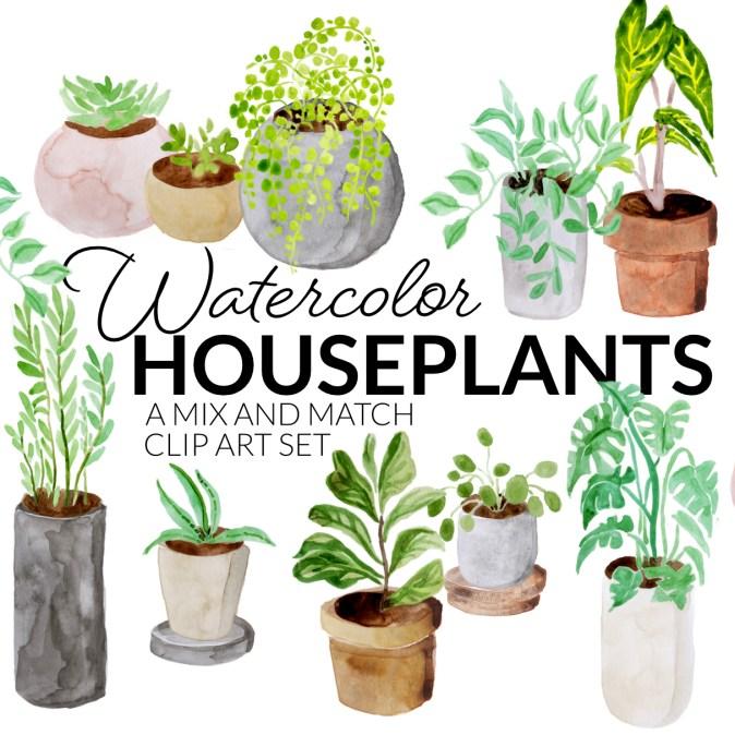 Watercolor houseplants gardening clipart set digital clip art planting clipart gardener potted plant artwork