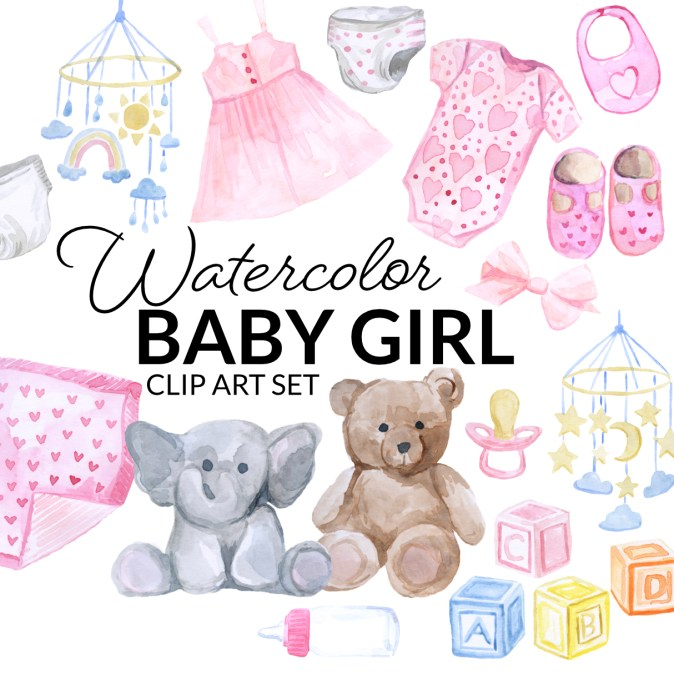 Watercolor pink baby girl clipart collection