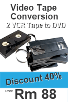 2 VCR Convert to DVD for only Rm 88.00