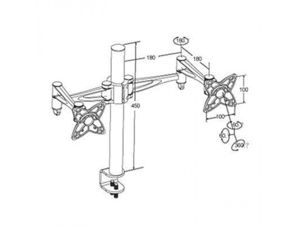 Brateck Dual / Double Monitor Desk Mounting Bracket for