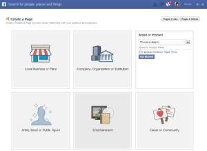 The categories for which you can set up a Facebook Fan Page.