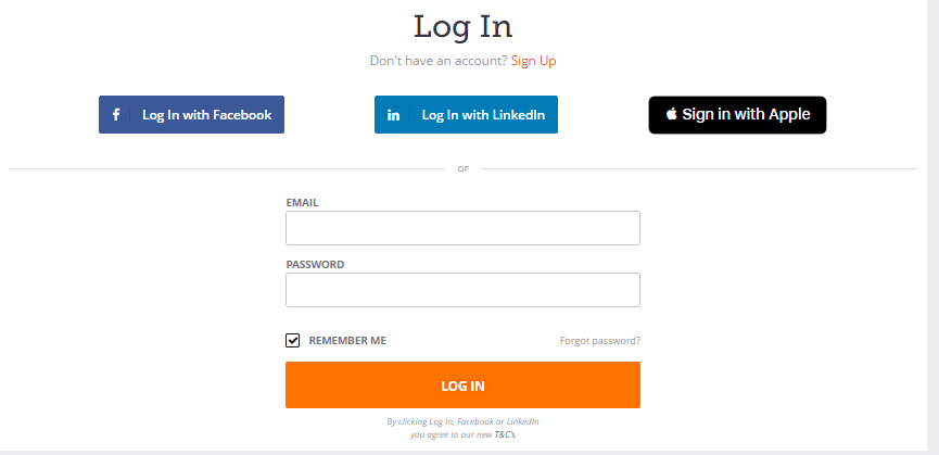 PeoplePerHour Signup page