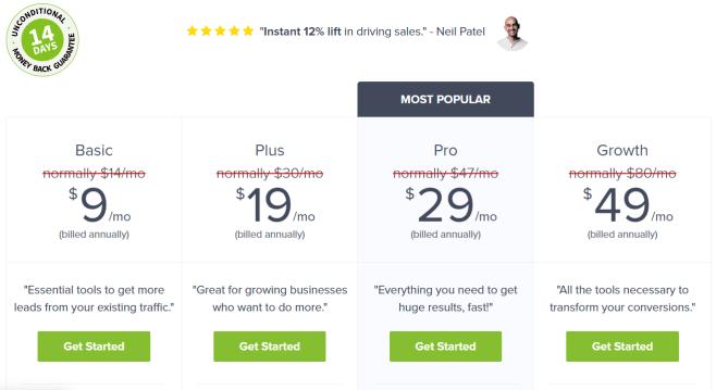 OptinMonster Email Marketing pricing plan