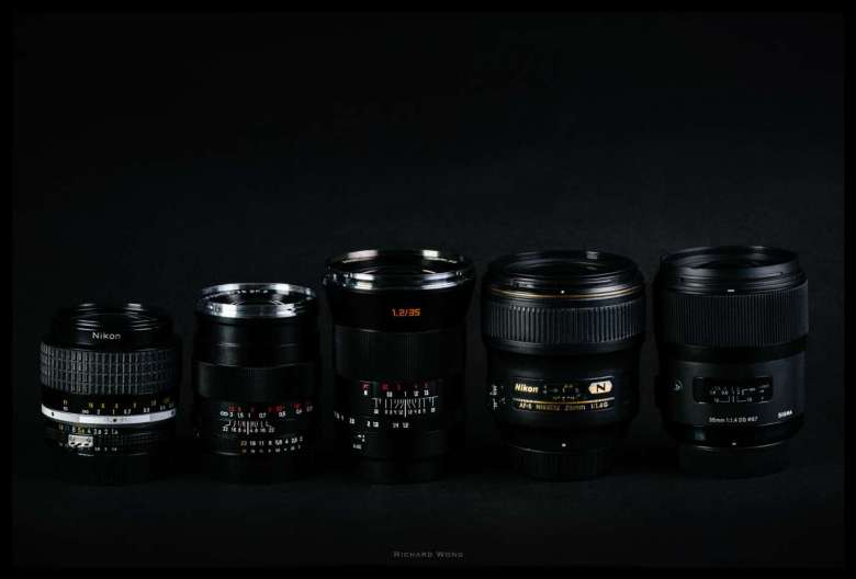 From left to right: Nikon AI-S, Zeiss, Kerlee, Nikon AF-S, Sigma