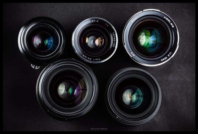 Top: Nikon AI-S, Zeiss, Kerlee - Bottom: Nikon AF-S, Sigma