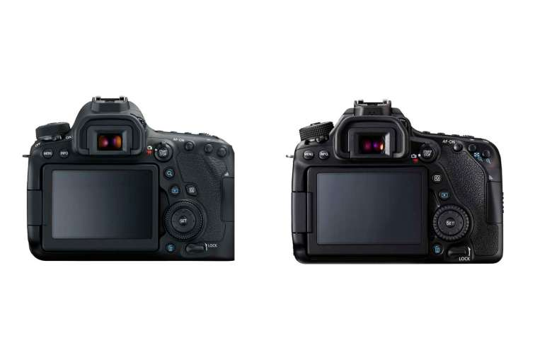The cameras have similar layouts, but the 6D MkII has a larger full-frame sensor!
