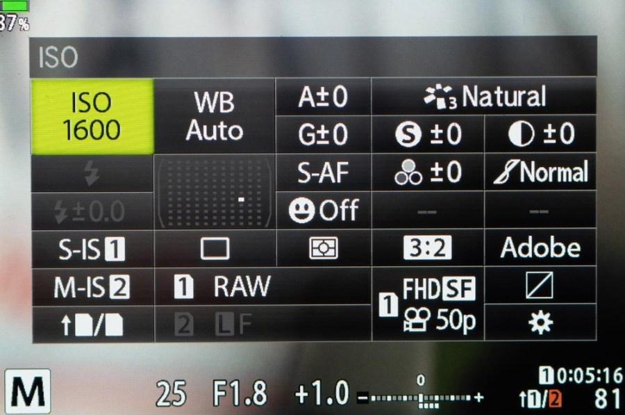 Imagen del menu Super Control Paner en Olympus OM-D E-M1II