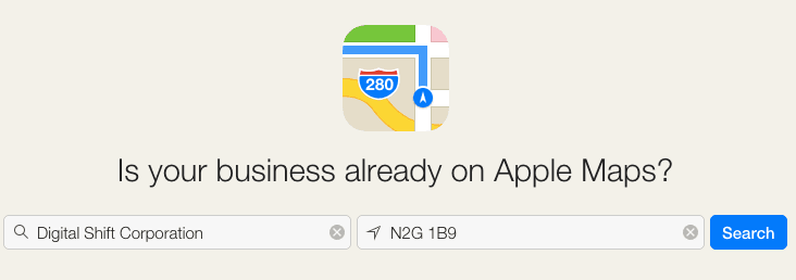 Apple Maps search business