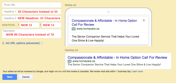 New Google Extended Text Ads (ETA) Ads in Google AdWords