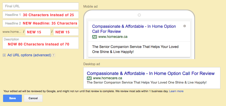 New Google Extended Text Ads (ETA) Ads in Google AdWrods