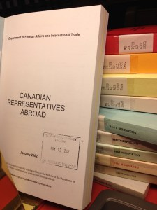 Canadian Representatives Abroad. Some of the volumes in the series available at the Library of Parliament.