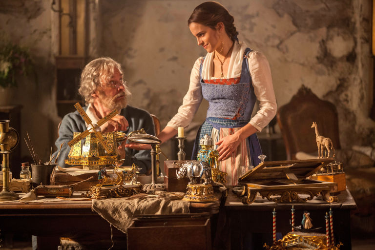 Kevin Kline as Maurice, Belle's father, Emma Watson as Belle, Beauty and the Beast