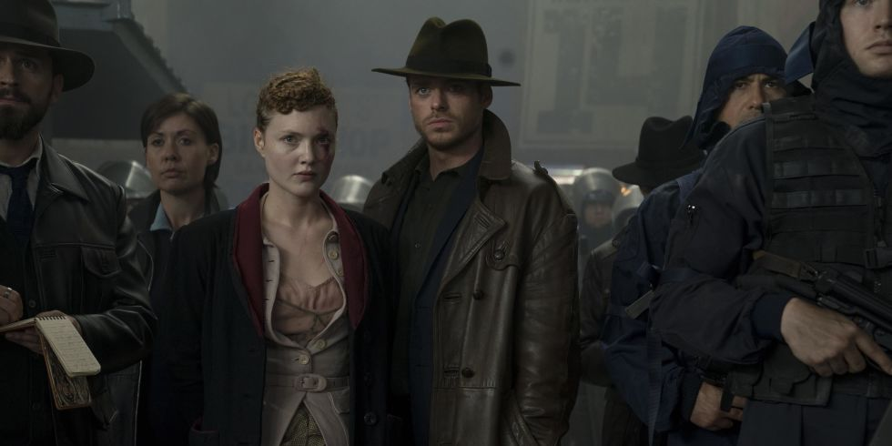 Honor (Holliday Granger) and Agent Ross (Richard Madden) in Electric Dreams' first offering The Hood Maker. (c) Channel 4