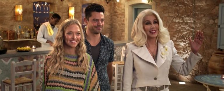 Amanda Seyfried, Dominic Cooper and Cher in Mamma Mia: Here We Go Again