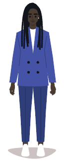 Picture of a woman in a blue suit.