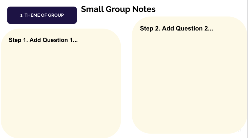 "Screen shot of Small Group notes google doc with the header, ""Small group notes"" and two columns to put notes in."