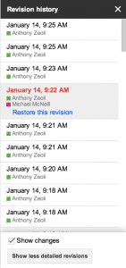 Google Docs Revision History screenshot