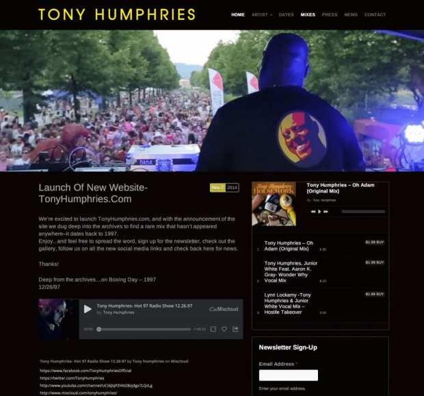 Screenshot of DJ and Producer, TonyHumphries.com Website