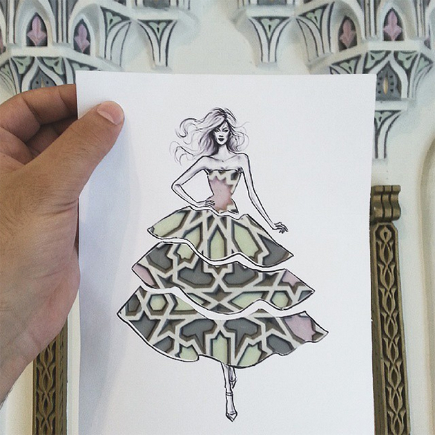 Fashion Cut-Out Sketches Completed Using Skies And Sceneries - 4