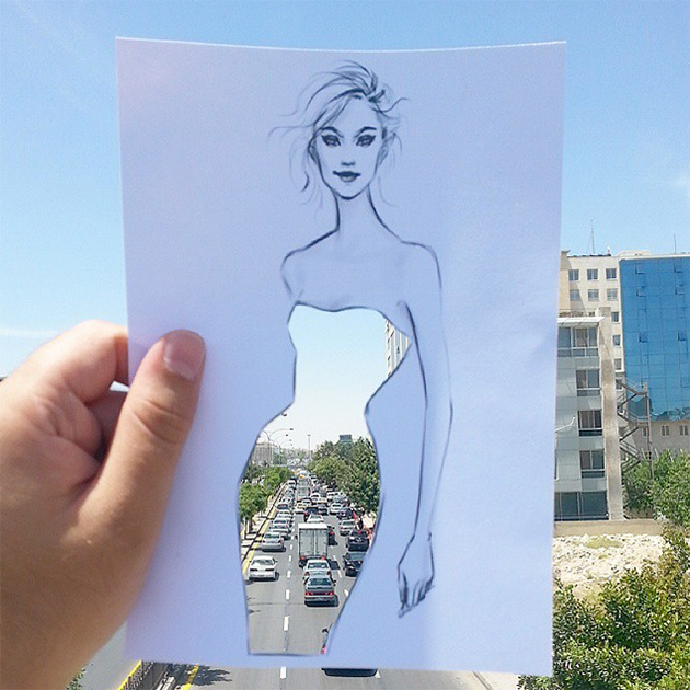 Fashion Cut-Out Sketches Completed Using Skies And Sceneries - 5