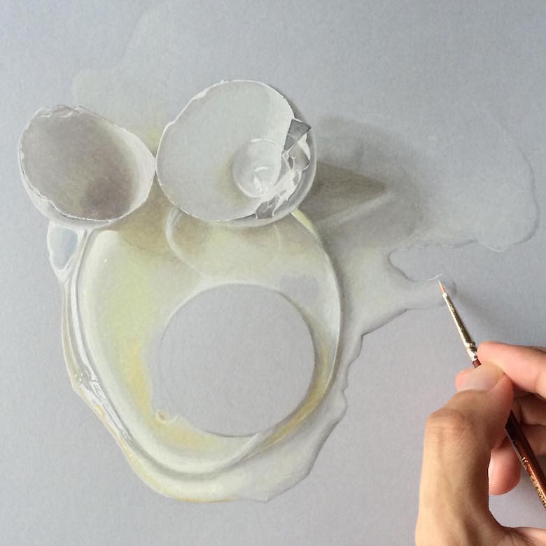Hyperrealistic 3d drawings by Sushant Rane: Egg shell - 2