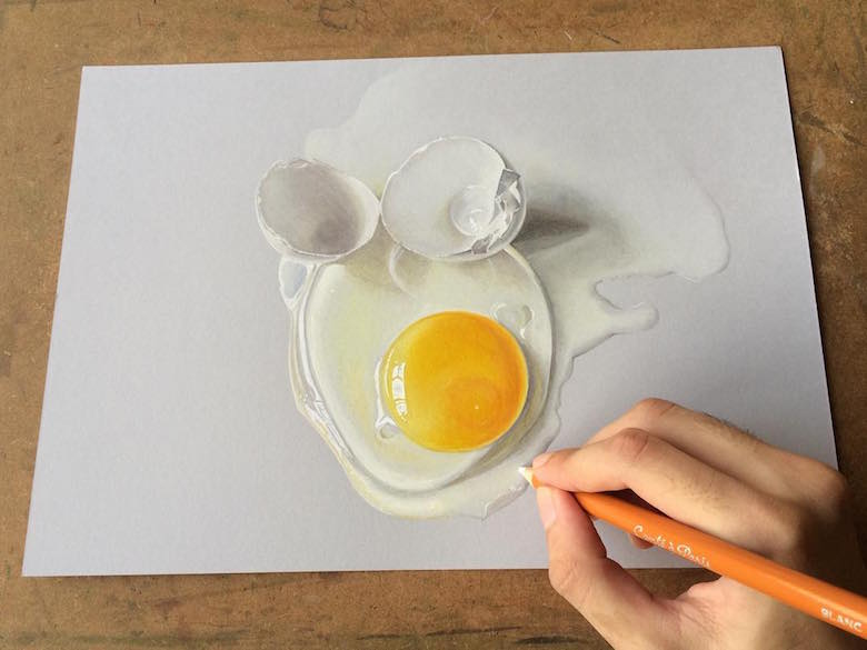 Hyperrealistic 3d drawings by Sushant Rane: Egg shell - 3