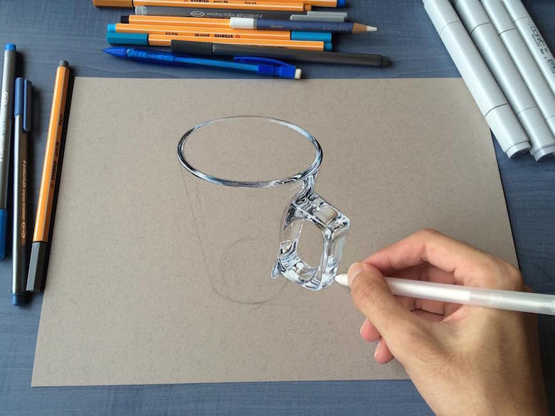 Hyperrealistic 3d drawings by Sushant Rane: Glass - 1