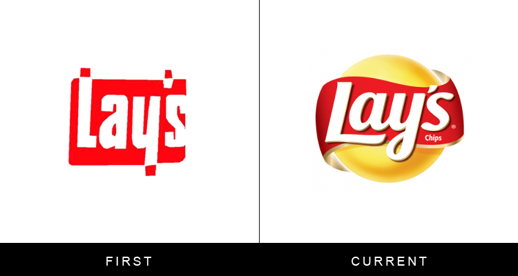 Original famous brand logos and now - Lays