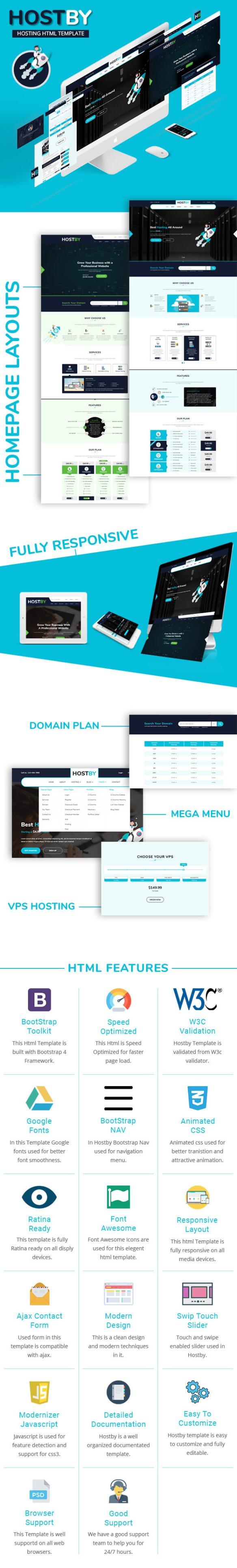 hostby  multipage hosting bootstrap4 html template