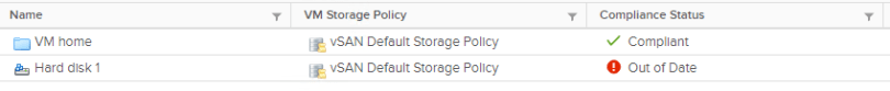 Machine generated alternative text: Name  VM home  Hard diskl  VM Storage Policy  vSAN Default Storage Pollcy  vSAN Default Storage Pollcy  Compliance Status  v/ Compllant  O Out ofDate