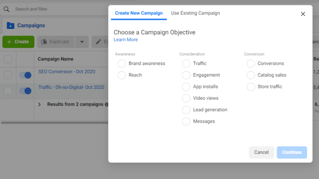 Facebook Ads Manager- Choose Objective