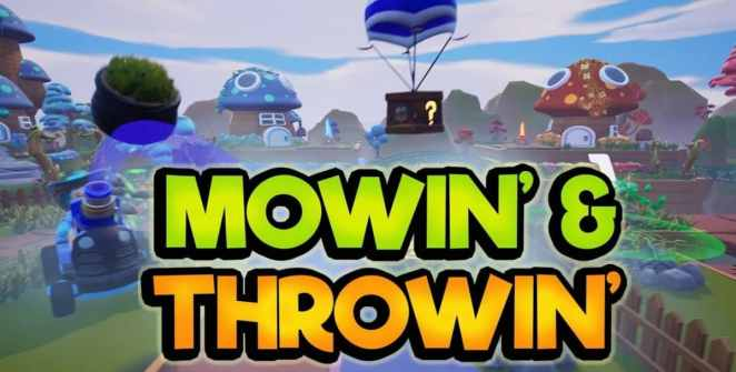 Mowin' & Throwin' Party Game Title
