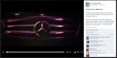 Mercedes remercie ses 9 millions de fans Facebook
