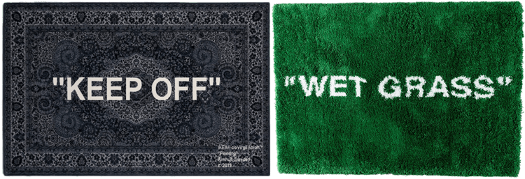 "Grey rug that says ""KEEP OFF"" and green rug that says ""WET GRASS"""