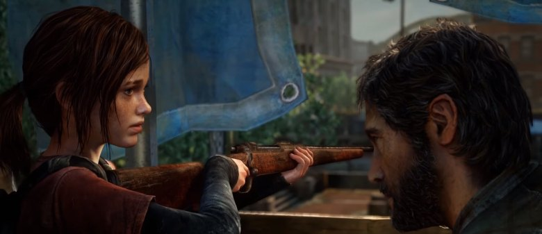 Joel teaches Ellie how to use a rifle in The Last of Us